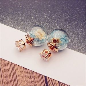 Jewelry - Crystal filled glass ball double ended earrings